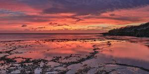 Sunset Above Low Tide Pools at Kawakiu Nui Beach on Molokai's West End by Richard A. Cooke