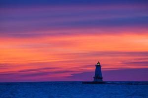 Ludington North Pierhead Lighthouse at Sunset on Lake Michigan, Mason County, Ludington, Michigan by Richard and Susan Day