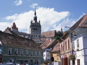 Clock Tower, on Old Town Citadel, from Piata Hermann Oberth, Sighisoara, Transylvania, Romania by Richard Ashworth