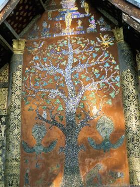 Glass Mosaic of Tree of Life on Wall of the 16th Century Sim, Wat Xiang Thong, Luang Prabang, Laos by Richard Ashworth
