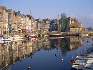 Reflections of Houses and Boats in the Old Harbour at Honfleur, Basse Normandie, France, Europe by Richard Ashworth