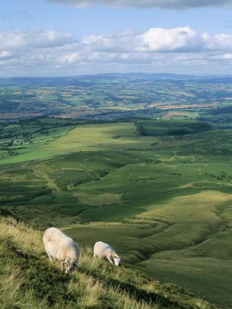 View North from Hay Bluff, with Distant Hay on Wye in Valley, Powys, Wales, United Kingdom