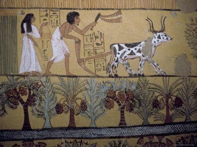 Wall Paintings in the Tomb of Sennejem (Sinjin), Deir El Medina, Thebes, Egypt