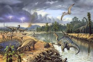 Early Cretaceous Life, Artwork by Richard Bizley