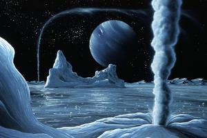 Ice Volcanoes on Triton, Artwork by Richard Bizley