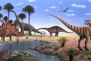 Jurassic Dinosaurs, Artwork by Richard Bizley