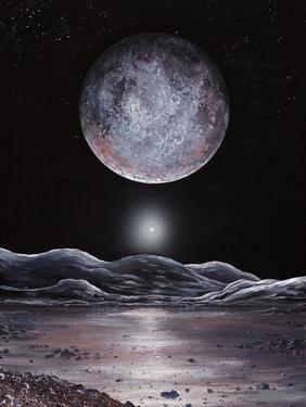Pluto Seen From Charon, Artwork by Richard Bizley