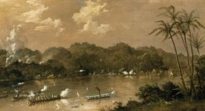 A Naval Engagement in Perak, Malaysia, 1885 by Richard Bridges Beechey