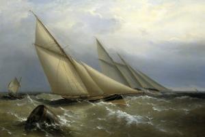 A Schooner and Cutter Yacht rounding a Buoy, 1876 by Richard Bridges Beechey