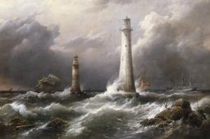 H.M.S. 'Lord Warden' off the Eddystone Lighthouses, 1882 by Richard Bridges Beechey
