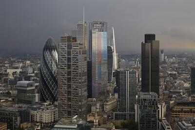 Cluster of High Rise Buildings in the City of London