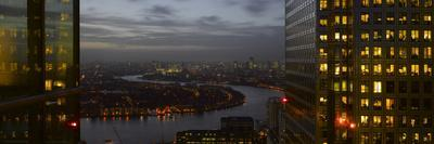London Panorama from Citigroup Tower at Dusk with Lights in Windows Towards the River Thames