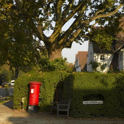 Post Box and Bench, Meadway, Hampstead Garden Suburb, London