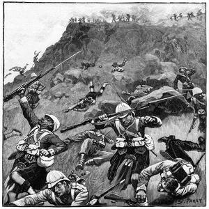 92nd Gordon Highlanders in Retreat, Battle of Majuba Hill, 1st Boer War, 26-27 February 1881 by Richard Caton Woodville II