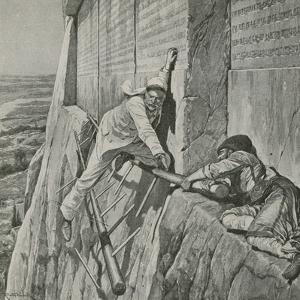 A Narrow Escape for Sir Henry Rawlinson at the Rock of Behistun by Richard Caton Woodville II