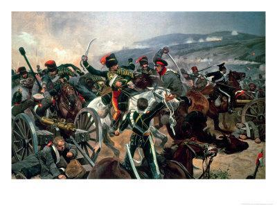Battle of Balaclava, 25th October 1854, Relief of the Light Brigade (Colour Print)