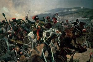 Battle of Balaclava, 25th October 1854, Relief of the Light Brigade (Colour Print) by Richard Caton Woodville II