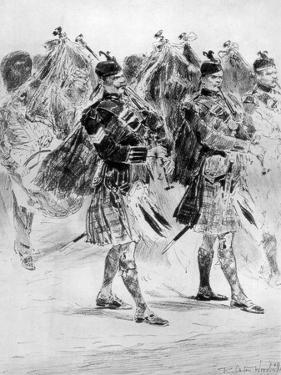 To the Wail of the Pipes, the Highland Soldiers' Lament, 1910 by Richard Caton Woodville II