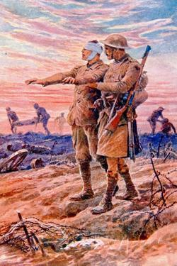 When Night Sets in the Sun Is Down' - British Wwi Postcard Published on Behalf of the National… by Richard Caton Woodville II