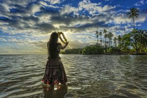 A Hula Dancer in Low Tide Water in Front of Kapuaiwa Palm Grove, Molokai Island by Richard Cooke
