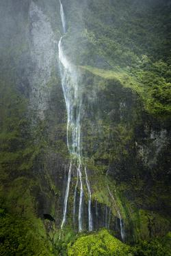 Aerial of Waiehu Waterfall in Storm, Along North Shore Cliffs, Molokai, Hawaii by Richard Cooke III