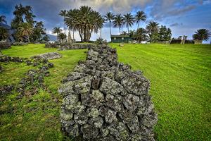 Grave Stones Outside Settlement at Kalaupapa Settlement, Molokai, Hawaii by Richard Cooke III
