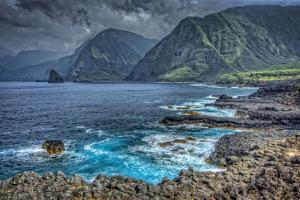 Shoreline View Along Kalawao Looking to North Shore Cliffs, Molokai, Hawaii by Richard Cooke III
