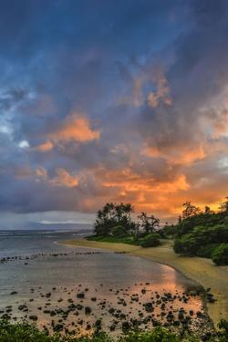 Sunset at Morse Point Along the East End Road, Molokai, Hawaii by Richard Cooke III
