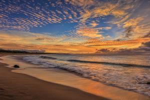 Sunset at Papohaku Beach, West End Molokai, Hawaii by Richard Cooke III