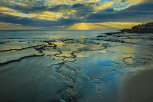 Tide Pools at Sunset, at Kawakiu Nui Beach, West End, Molokai, Hawaii by Richard Cooke III