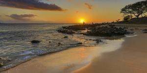 Sunset over Two Mile Long Papohaku Beach, on West End of Molokai Island by Richard Cooke