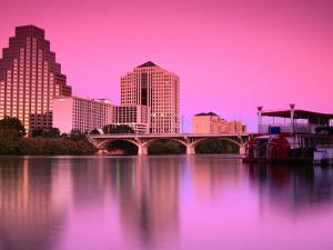 Austin City Skyline Reflected in Town Lake, Austin, Texas by Richard Cummins