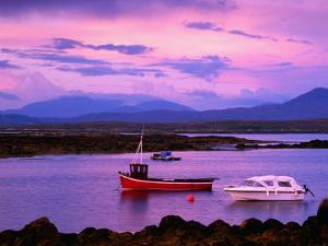 Boats Moored in Inlet, Sunset, Ireland by Richard Cummins