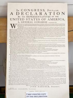 Copy of the Declaration of Independence in Free Quarker Meeting House by Richard Cummins