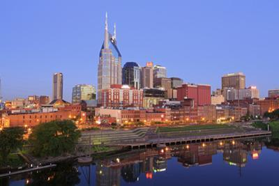 Cumberland River and Nashville Skyline, Tennessee, United States of America, North America