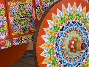Decorative Ox-Cart in Sarchi Village, Central Highlands, Costa Rica, Central America by Richard Cummins