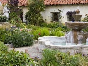 Fountain at Mission San Carlos Borromeo, Carmel-By-The-Sea, Monterey County, California, United Sta by Richard Cummins