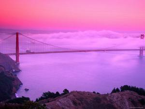 Golden Gate Bridge at Dawn in Fog, San Francisco, California by Richard Cummins