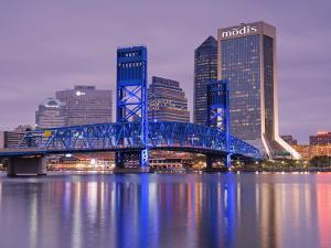 Main Street Bridge and Skyline, Jacksonville, Florida, United States of America, North America by Richard Cummins