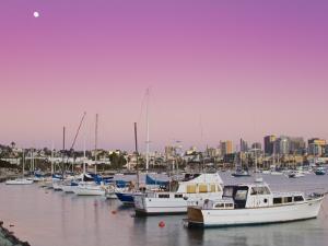 Moonrise and San Diego Skyline at Twilight by Richard Cummins