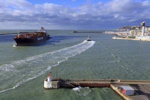 Ship in Le Havre Port, Normandy, France, Europe by Richard Cummins