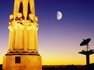 Statue, Moon and Satellite Dish, Griffith Observatory, Griffith Park, Hollywood, Los Angeles, USA by Richard Cummins