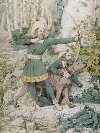 Sketch of Robin Hood, 1852 (W/C over Graphite on Paper) by Richard Dadd