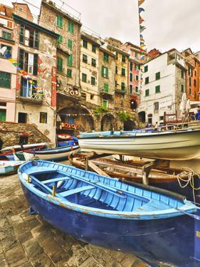 Fishing Boats are Parked in Streets Each Night, Manarola, Cinque Terre, Tuscany, Italy by Richard Duval