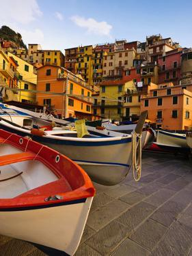 Fishing Boats at Rest in Manarola in Cinque Terre, Tuscany, Italy by Richard Duval