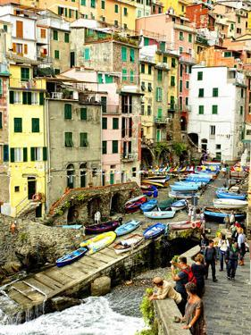 Fishing Boats Line the Launch Site in the Village of Riomaggiore, Cinque Terre, Tuscany, Italy by Richard Duval