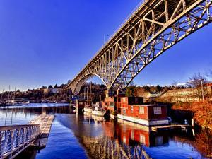 Reflection of the Aurora Bridge in Lake Union on a Cold Clear Seattle Morning, Washington, Usa by Richard Duval