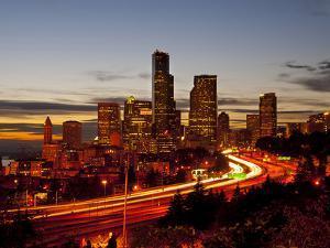 Seattle Skyline at Dusk, Seattle, Washington, USA by Richard Duval