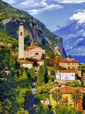 The Parish Church in the Village of Limone on Lake Garda, Italy by Richard Duval