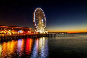 USA, Washington, Seattle. the Seattle Great Wheel on the Waterfront by Richard Duval